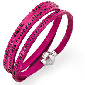 Amen bracelet, Angel of God in Italian, fuchsia s2