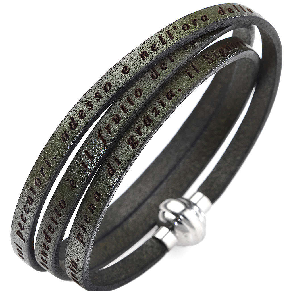 Amen bracelet, Hail Mary in Italian, olive green 4