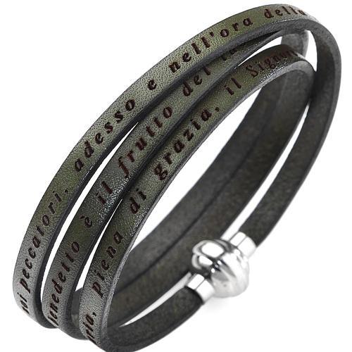 Amen bracelet, Hail Mary in Italian, olive green 1