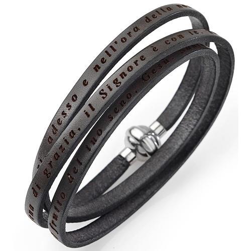 Amen bracelet, Hail Mary in Italian, mud colour 1