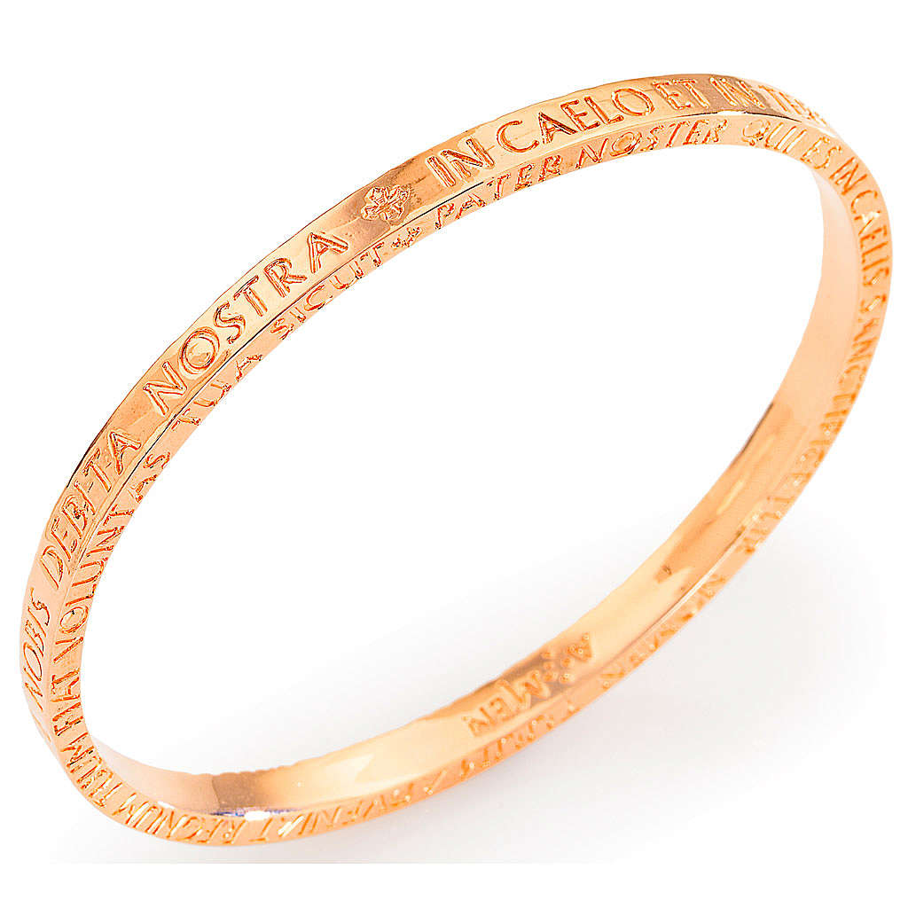 Amen bracelet in pink bronze with Our Father in latin 4