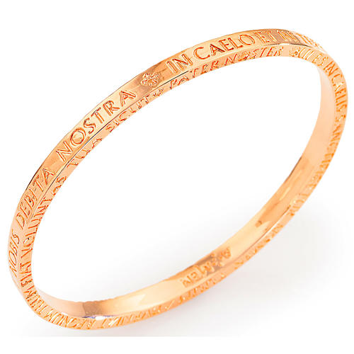 Amen bracelet in pink bronze with Our Father in latin 1