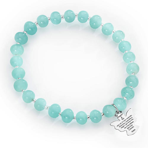 Amen bracelet in light blue Murano beads 6mm, sterling silver 1
