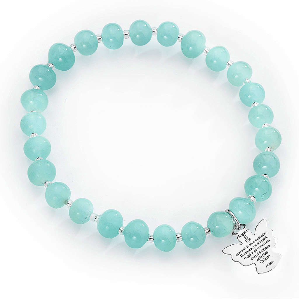 Bracelet Amen perles verre de Murano bleu ciel 6 mm argent 925 4