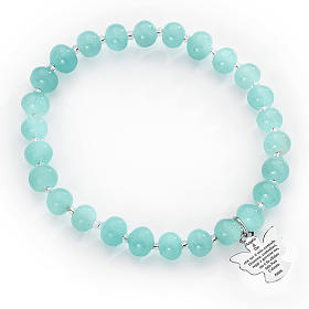 Bracelet Amen perles verre de Murano bleu ciel 6 mm argent 925 s1