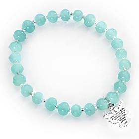 Bracciale AMEN perle Murano azzurro 6 mm argento 925 s1