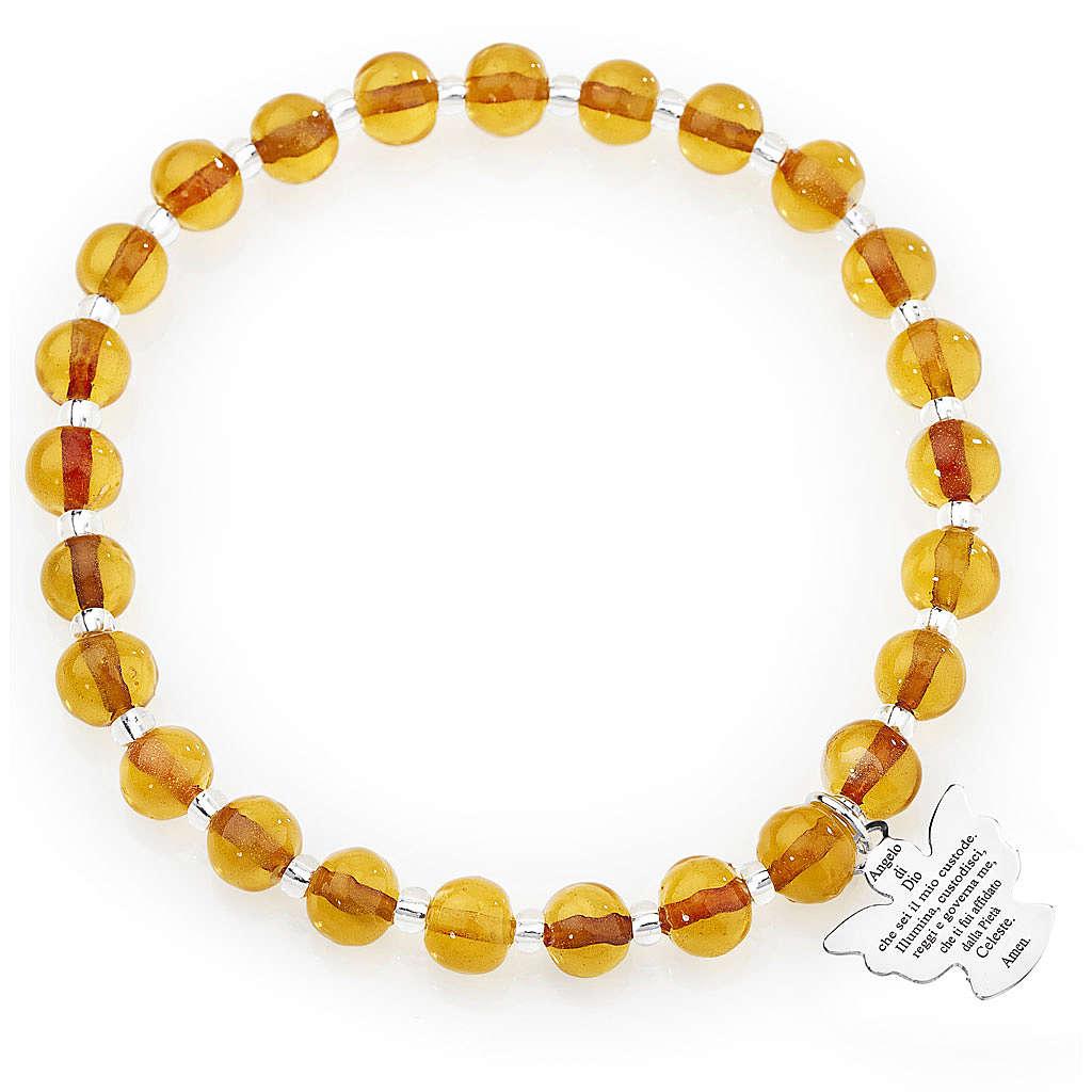 Bracelet Amen perles verre de Murano ambre 6 mm argent 925 4