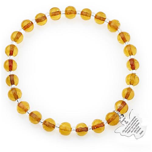 Bracelet Amen perles verre de Murano ambre 6 mm argent 925 1