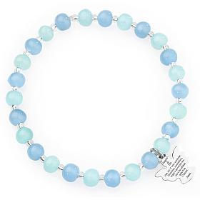 Pulsera AMEN perlas aguamarina de Murano 6 mm. plata 925 s1