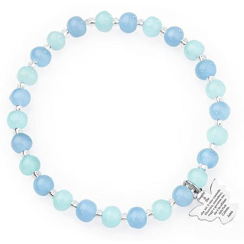 Bracciale AMEN perle Murano acquamarina 6 mm argento 925 1