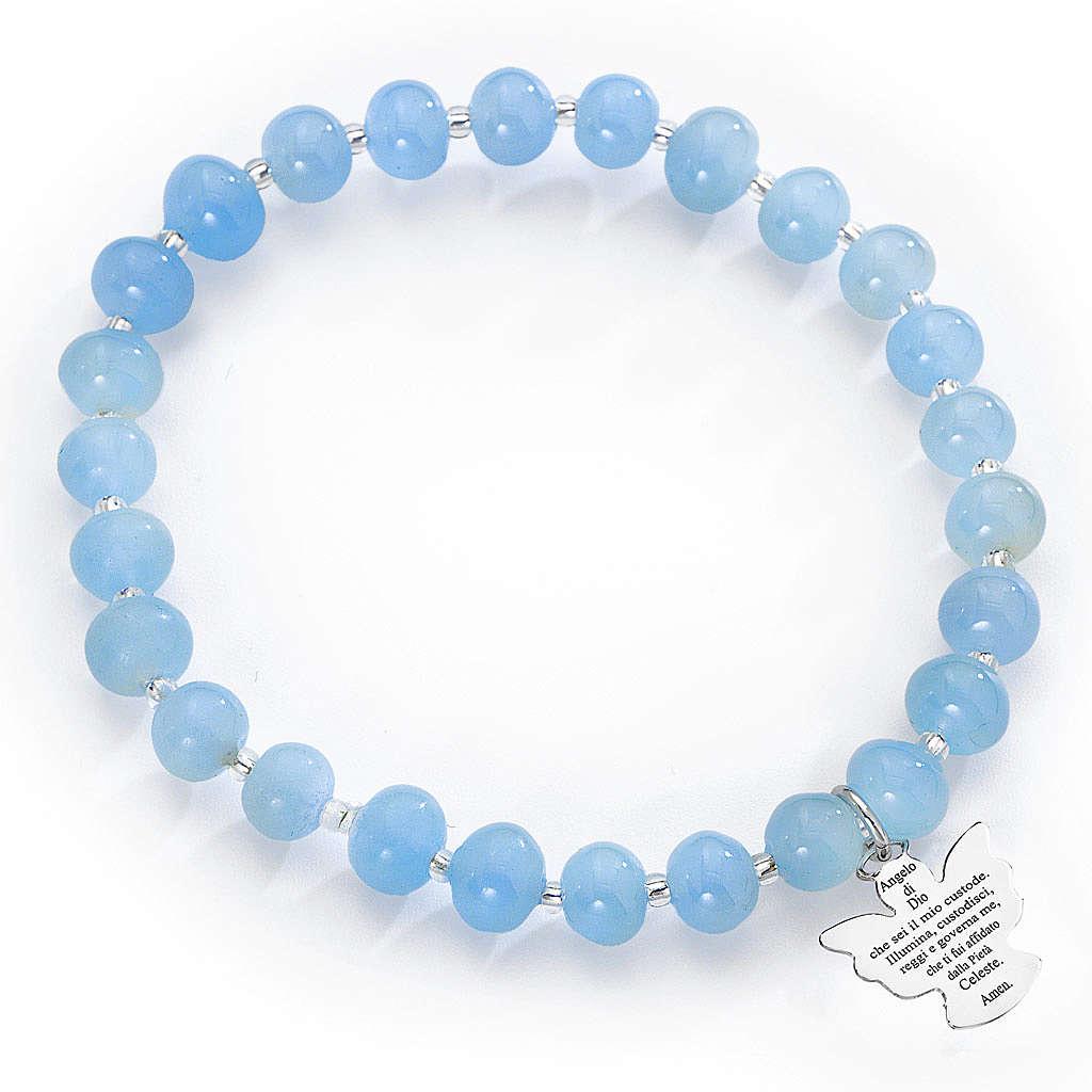 Bracelet Amen perles verre Murano bleu 6 mm argent 925 4
