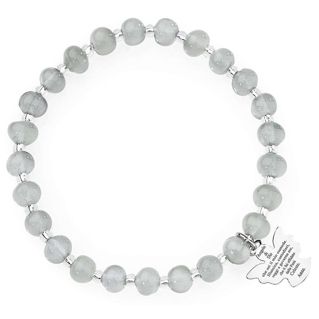 Bracciale AMEN perle Murano grigio chiaro 6 mm argento 925 4