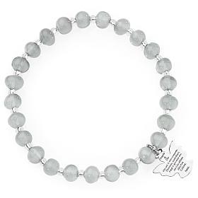 Bracciale AMEN perle Murano grigio chiaro 6 mm argento 925 s1