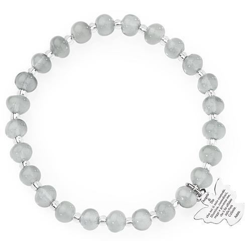 Bracciale AMEN perle Murano grigio chiaro 6 mm argento 925 1
