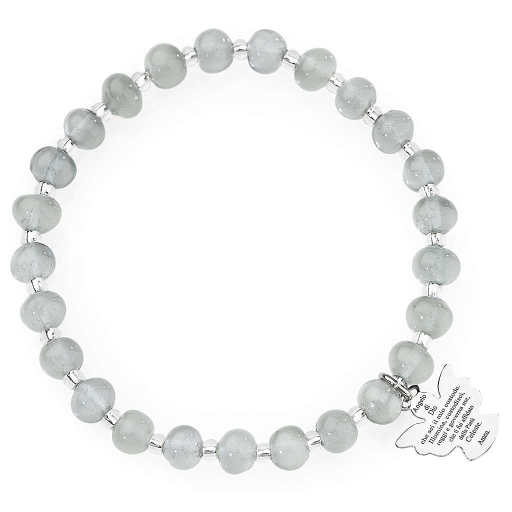 Amen bracelet in light grey Murano beads 6mm, sterling silver 4