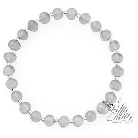 Amen bracelet in light grey Murano beads 6mm, sterling silver s1