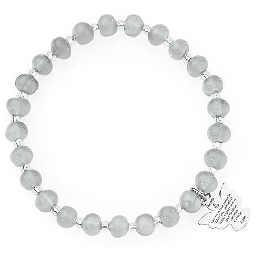 Amen bracelet in light grey Murano beads 6mm, sterling silver 1