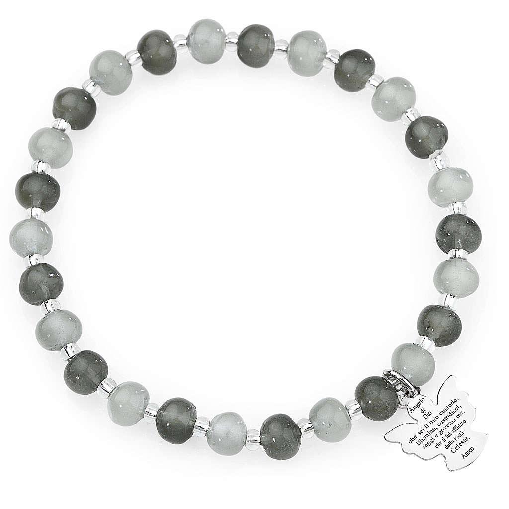 Amen bracelet in grey Murano beads 6mm, sterling silver 4