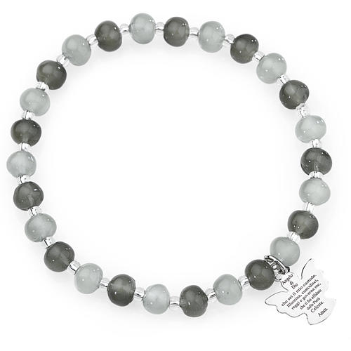 Amen bracelet in grey Murano beads 6mm, sterling silver 1