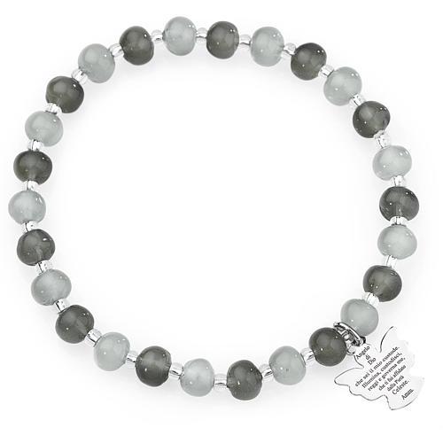 Bracelet Amen perles verre Murano gris 6 mm argent 925 1