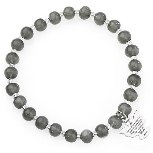 Bracciale AMEN perle Murano grigio scuro 6 mm argento 925 1