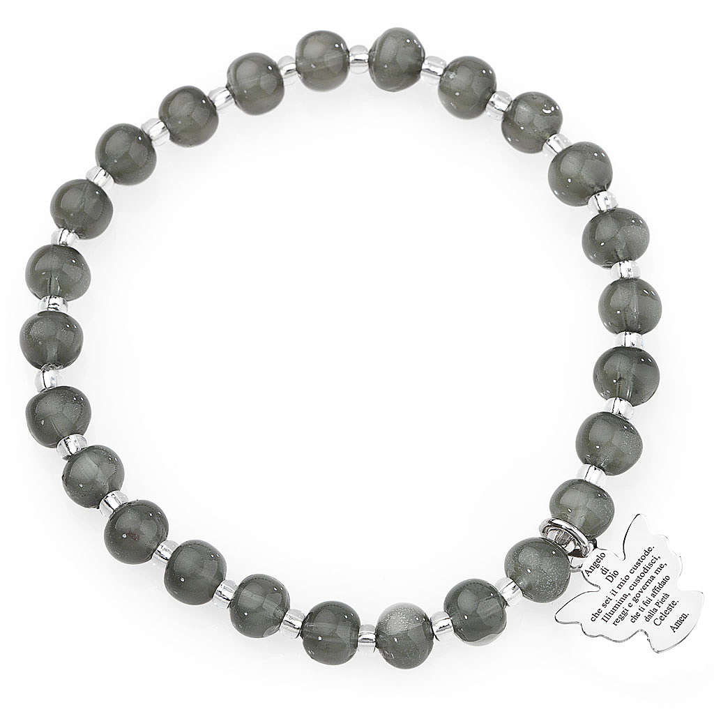 Amen bracelet in dark grey Murano beads 6mm, sterling silver 4