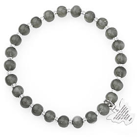 Amen bracelet in dark grey Murano beads 6mm, sterling silver s1