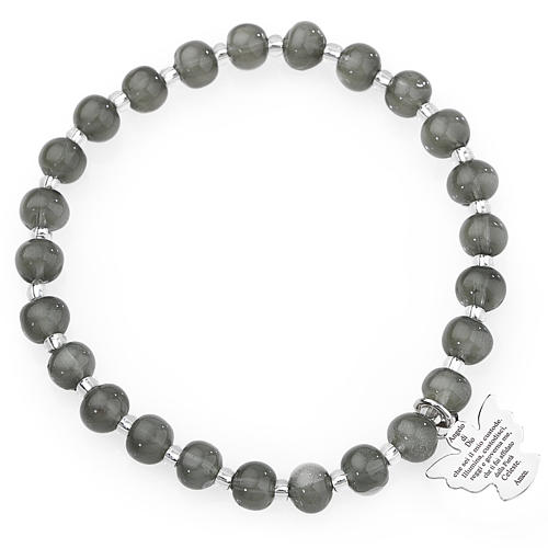 Amen bracelet in dark grey Murano beads 6mm, sterling silver 1