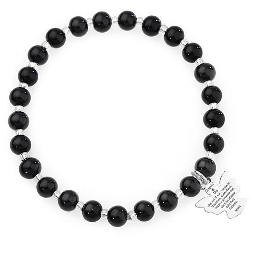 Bracelet Amen perles verre Murano noir 6 mm argent 925 1