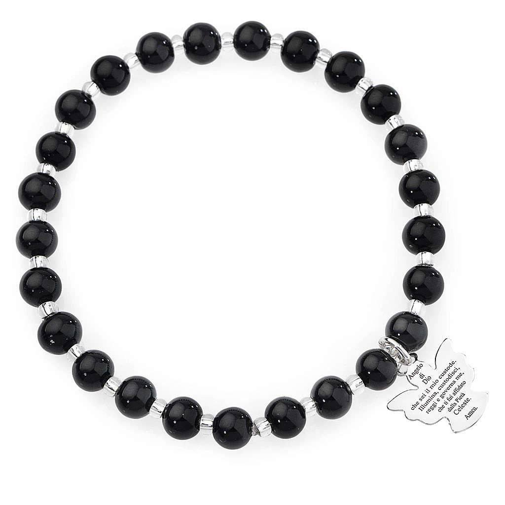 Bracciale AMEN perle Murano nero 6 mm argento 925 4
