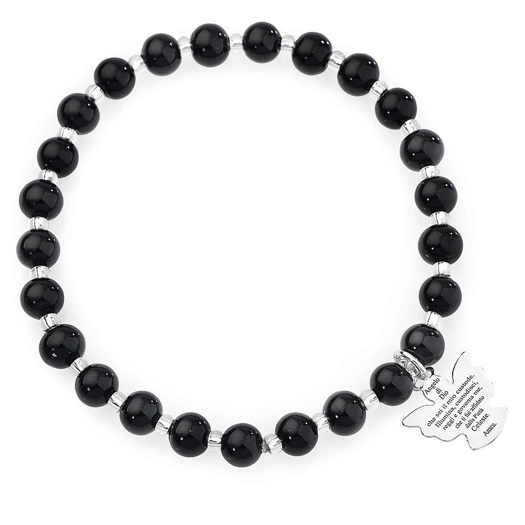 Amen bracelet in black Murano beads 6mm, sterling silver 4