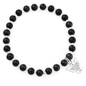 Amen bracelet in black Murano beads 6mm, sterling silver s1