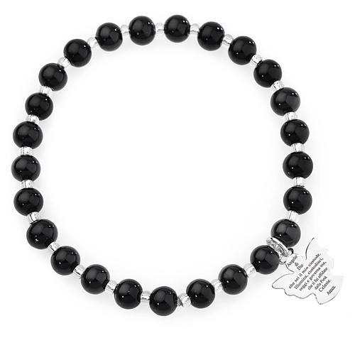 Amen bracelet in black Murano beads 6mm, sterling silver 1