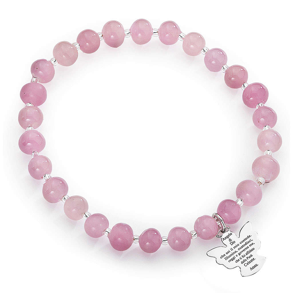 Pulsera AMEN perlas rosadas de Murano 6 mm. plata 925 4
