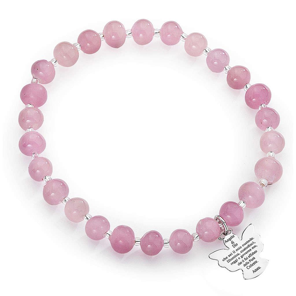Amen bracelet in pink Murano beads 6mm, sterling silver 4
