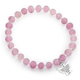 Amen bracelet in pink Murano beads 6mm, sterling silver s1