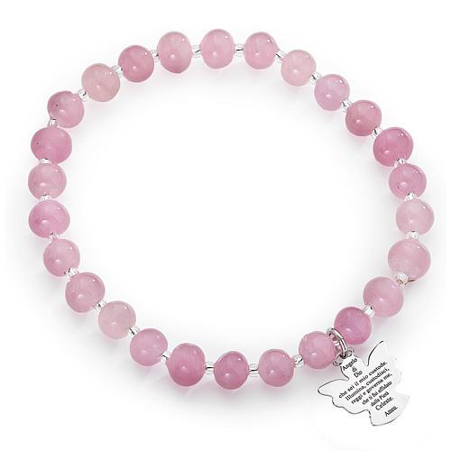 Amen bracelet in pink Murano beads 6mm, sterling silver 1