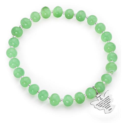Bracelet Amen perles verre Murano vert 6 mm argent 925 1