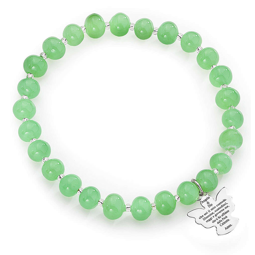 Amen bracelet in green Murano beads 6mm, sterling silver 4