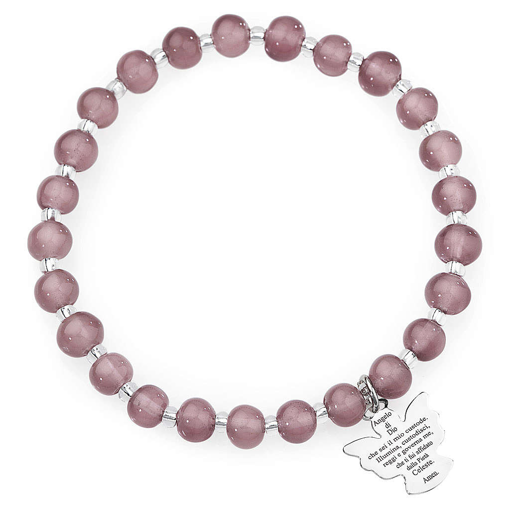 Pulsera AMEN perlas morado claro de Murano 6 mm. plata 925 4