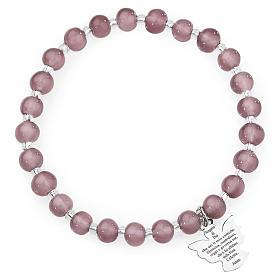 Pulsera AMEN perlas morado claro de Murano 6 mm. plata 925 s1