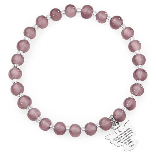 Pulsera AMEN perlas morado claro de Murano 6 mm. plata 925 1