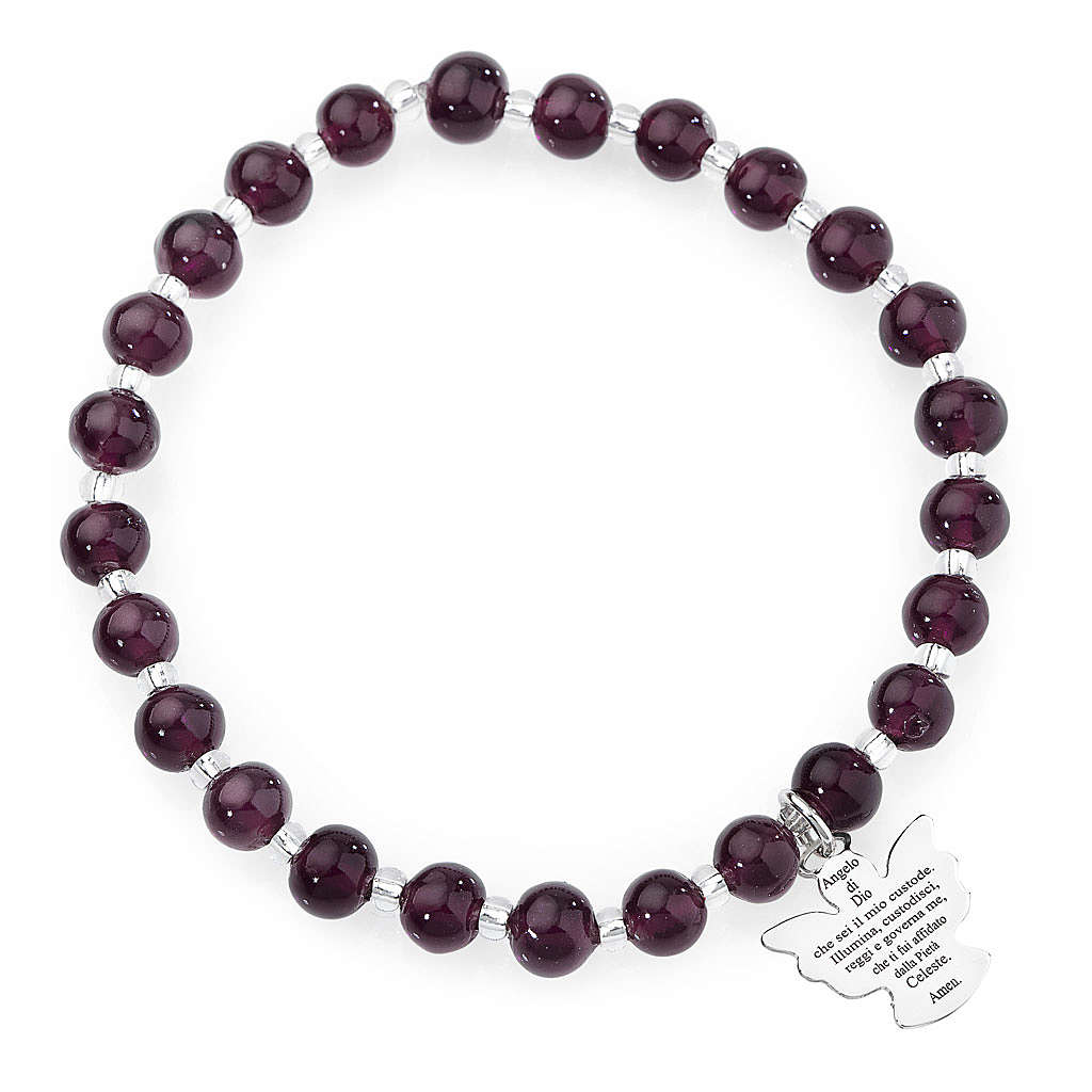Amen bracelet in dark purple Murano beads 6mm, sterling silver 4