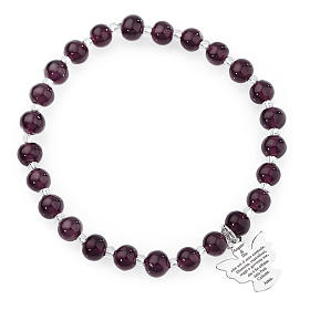Amen bracelet in dark purple Murano beads 6mm, sterling silver s1