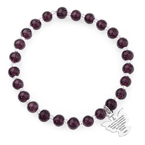 Amen bracelet in dark purple Murano beads 6mm, sterling silver 1