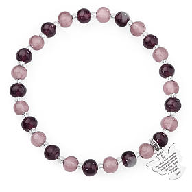 Bracelet Amen perles verre Murano mauve-violet 6 mm argent 925 s1