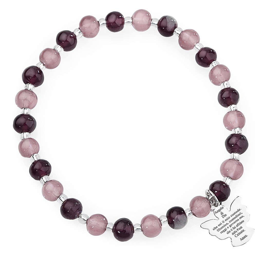 Amen bracelet in purple Murano beads 6mm, sterling silver 4