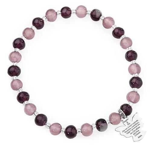 Amen bracelet in purple Murano beads 6mm, sterling silver 1