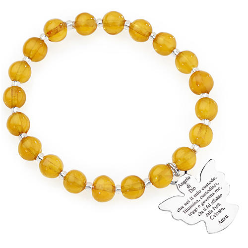 Amen bracelet in amber Murano beads 8mm, sterling silver 1