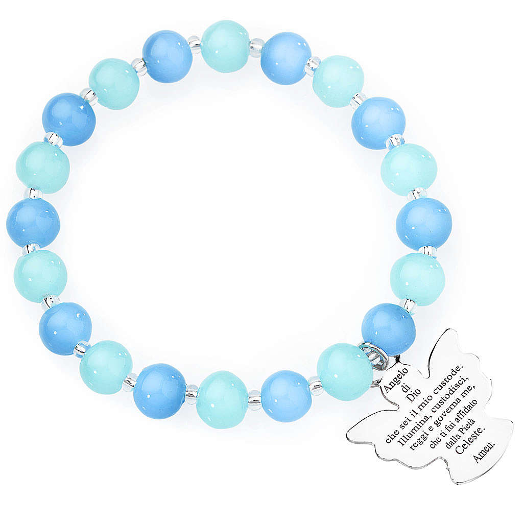 Amen bracelet in blue and aquamarine Murano beads 8mm, sterling 4
